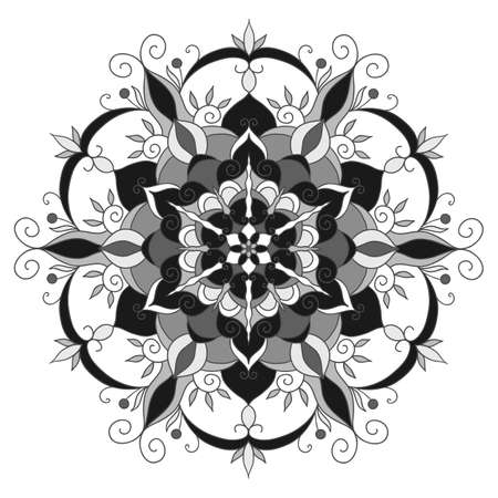 vector mandala drawn with black lines on a white background Stock Photo