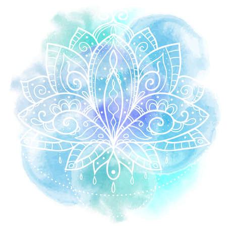 Vector ornamental flower lotus on watercolor background. Perfect cards for any other kind of design, tattoo. Ethnic art, astrology, alchemy, boho style and magic symbol. Element hand drawn. Illustration