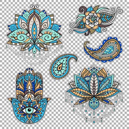 Un ensemble d'autocollants sur le thème oriental - lotus, paisley, hamsa. Illustration vectorielle