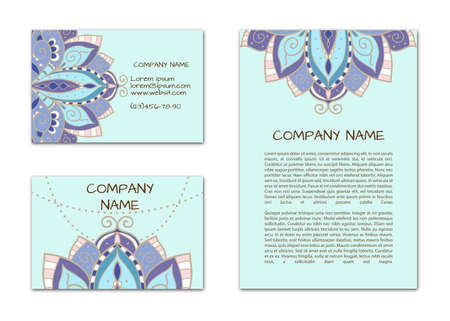 Business card with lotus. Vector pattern of cards on an ethnic theme.