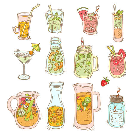 Set of different cocktail and smoothie. Detox for health. Bar menu. Vector illustration Illustration
