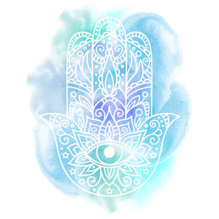 Vector illustration. Hamsa on an abstract watercolor background.