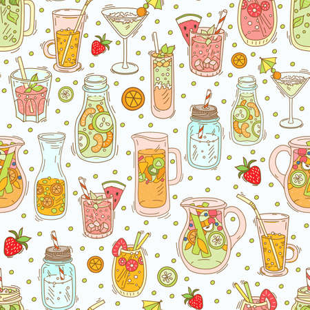 Seamless pattern with drinks - fruit infused water, detox water for clean, tropical breakfast smoothie, strawberry, green tea lemonade, fresh fruit juices and cocktails, yogurt.