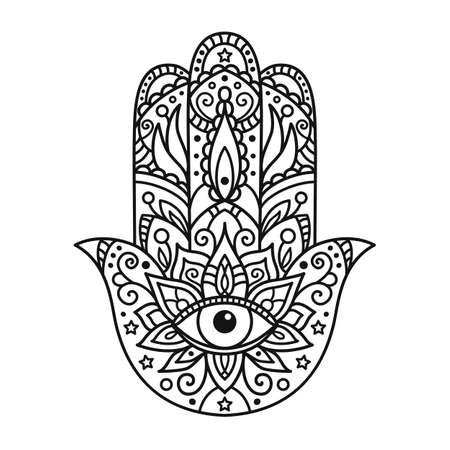 Illustrazione vettoriale. Colorazione in bianco e nero con hamsa Archivio Fotografico - 86616036