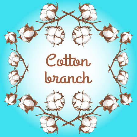 Vector background with a branch of a cotton tree