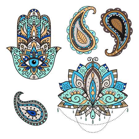 A set of stickers on the eastern theme - lotus, paisley, hamsa. Vector illustration.