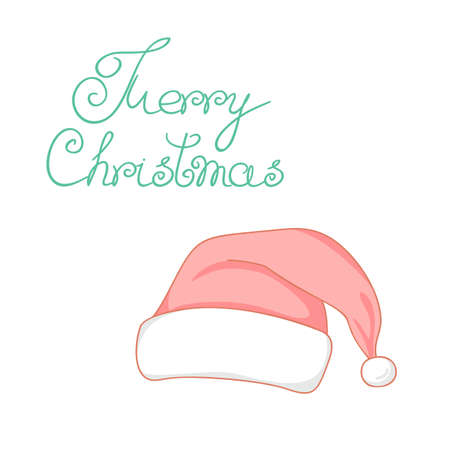 Red Santa Claus hat. Vector illustration. Merry Christmas. Illustration