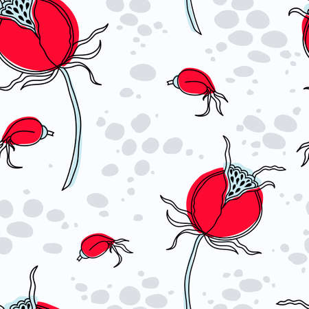 Seamless floral pattern in the Scandinavian style. Dog-rose fruit.
