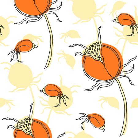 dogrose: Seamless floral pattern in the Scandinavian style. Dog-rose fruit.