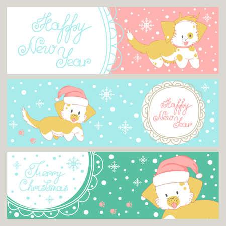 Christmas greeting card. Funny dog wearing santas hat. Illustration