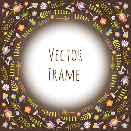 Colorful vector hand drawn set cartoon doodle plants and flowers. Round frame composition.