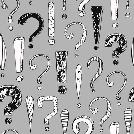 vector seamless pattern with question marks and exclamation marks
