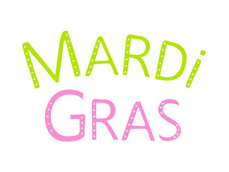 Carnival mardi gras lettering for celebration decoration design. Bright colorful vector confetti background.
