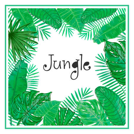 Vector frame with tropical leaves. Universal design for card, invitation, banner, poster, placard, cover. Ilustrace