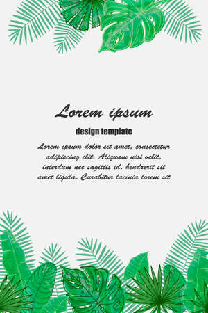 Vector frame with tropical leaves. Universal design for card, invitation, banner, poster, placard, cover. Reklamní fotografie