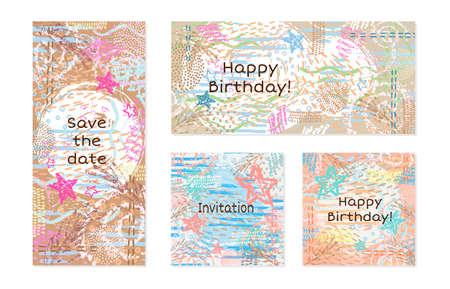 Artistic abstract background with hand drawn textures. Set of creative cards, invitation, banner, poster, placard, cover.