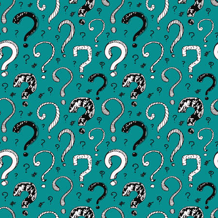 Vector seamless pattern with black question marks on a white background