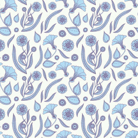 Seamless pattern with delicate flowers and leaves. Vector illustration.