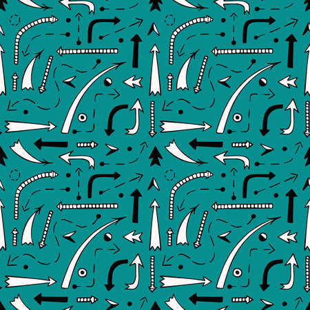 Vector seamless pattern with arrows on a gray background