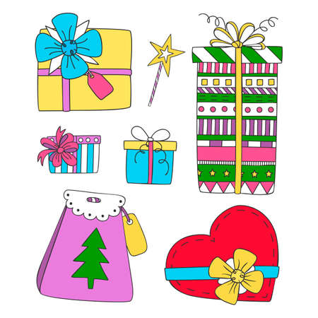 Collection of doodle sketch festive gift boxes. Christmas gift boxes. Ilustrace
