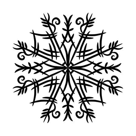 Black snowflake isolated on white background. Vector illustration.