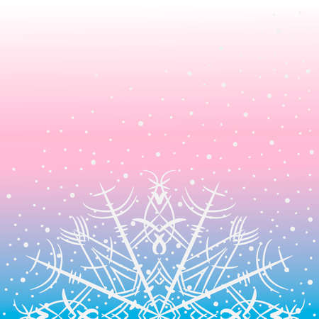 Delicate background with snowflakes on blue and pink