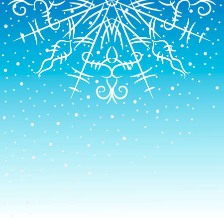 Delicate background with snowflakes on blue. Vector illustration.