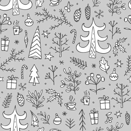 Sketch christmas seamless pattern doodles for wallpaper design. Doodle christmas seamless line-pattern. New year seamless pattern. Ilustrace