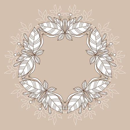 Plant mandala frame. Doodle flyer. Invitation background. Vintage style. Vector doodle background. Vintage vector card. Elegant decoration. Luxury ornament. Çizim