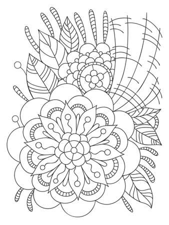 Card with a floral pattern. Coloring Book Page. Decorative Composition with Flowers and Leaves. Ilustrace