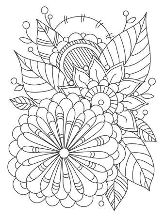 Card with a floral pattern. Coloring Book Page. Decorative Composition with Flowers and Leaves. Çizim