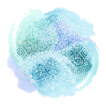 Beautiful mandala over colorful watercolor, great design for any purposes. Isolated vector design