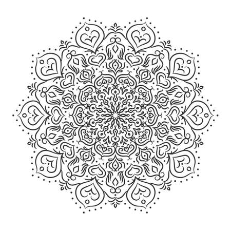 Vector mandala drawn with black lines on a white background. Beautiful vintage round pattern. Ethnic ornate background. Çizim