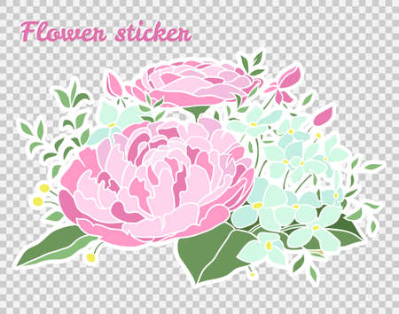 Sticker with beautiful flowers. Vector illustration. Great design for any purpose. Flat style.
