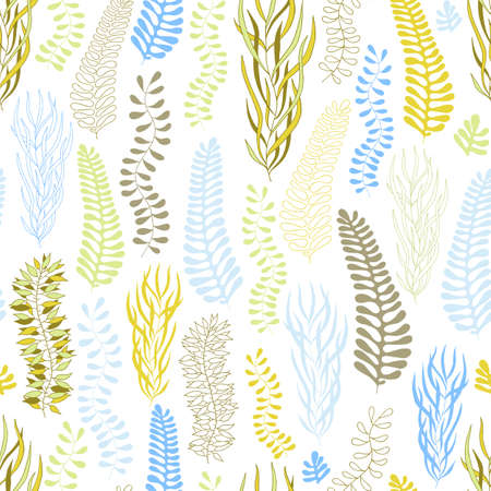 Vector seamless pattern. Artistic background with a floral pattern. Leaves, branches. Seaweed.