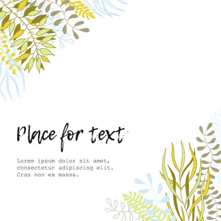 Artistic background with a floral pattern. Leaves, branches. Seaweed. Simple scandinavian design. Nordic style. Creative greeting card, invitation, banner, poster, cover. Ilustrace
