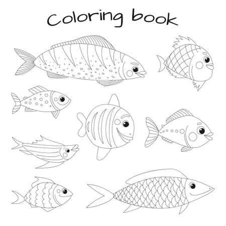 Cute fish vector collection in doodle style. Great design for any purposes. Objects isolated on a white background.