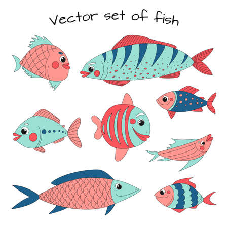 Cute fish vector collection in cartoon style. Great design for any purposes. Objects isolated on a white background.