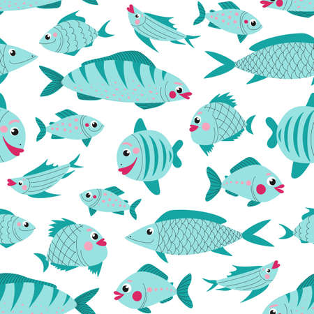Seamless pattern cute fish for decoration design. Seamless vector background. Great design for any purposes.