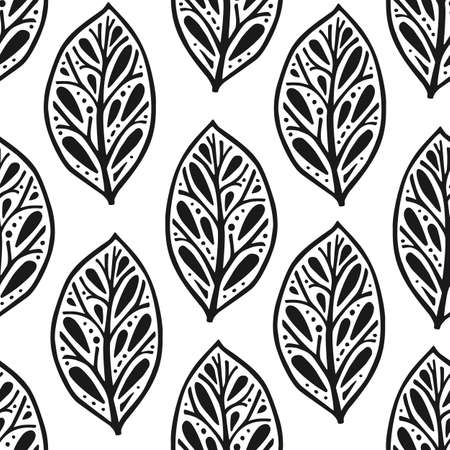 Vector seamless pattern in Scandinavian style with flowers and leaves