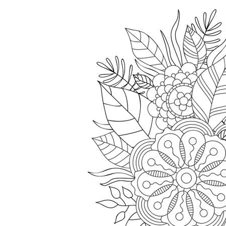 Card with a floral pattern. Coloring Book Page. Decorative Composition with Flowers and Leaves. Stok Fotoğraf - 131401722