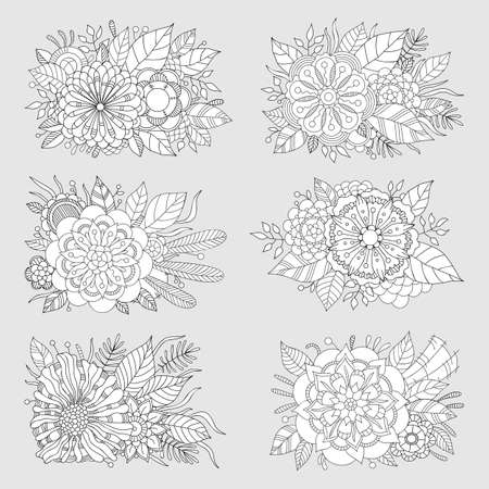 Set of floral patterns. Coloring Book Page. Decorative Composition with Flowers and Leaves.
