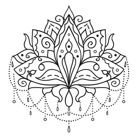 Ethnic art, the ornamental lotus flower. Hand drawn element, patterned Indian paisley.