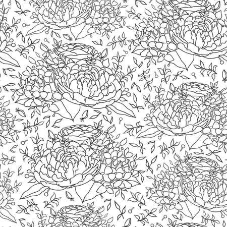 Line art black white flower seamless pattern for fabric design. Vector abstract graphic design. Ornament illustration. Flower background. White background.