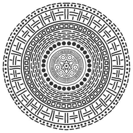 Modello di mandala in bianco e nero. Fondo mistico di vettore. Sfondo astratto grafico. Elemento di design nero. Decorazione ornamentale rotonda etnica.