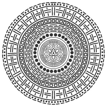 Motif mandala noir et blanc. Fond mystique de vecteur. Abstrait graphique. Élément de design noir. Décoration d'ornement rond ethnique.