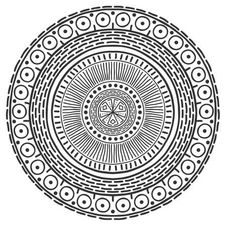 Mandala pattern black and white. Vector mystical background. Graphic abstract background. Black design element. Ethnic round ornament decoration.