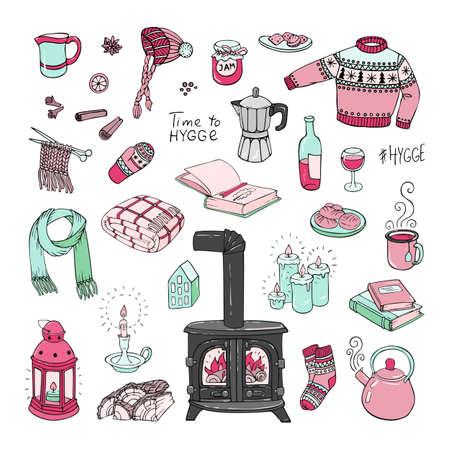 Vector illustration. Hand-drawn set of hygge doodles.