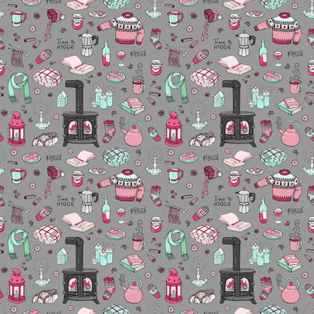 Seamless pattern with hand-drawn doodles hygge. Vector illustration.