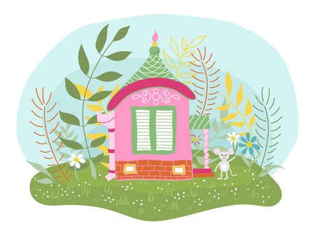 Childrens vector illustration of a fabulous little mouse house, flower meadow. Great design for any purposes Illustration